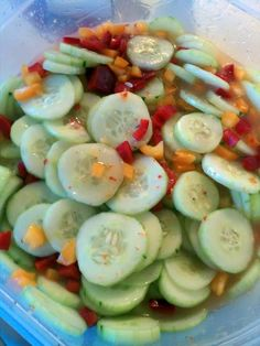 """Marinated Cucumbers! 4.89 stars, 19 reviews. """"I added yellow & red peppers & Italian dressing. came out great."""