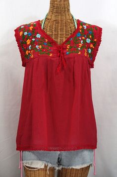 "Siren's ""La Marbrisa"" Sleeveless Mexican Blouse -Red"