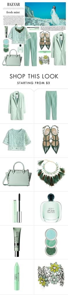 """fresh mint"" by buttercup-on-fire ❤ liked on Polyvore featuring Industrie, J.Crew, Chicwish, Valentino, MICHAEL Michael Kors, Rosantica, Clinique, Giorgio Armani, Essence and BCBGMAXAZRIA"