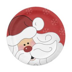 Shop Cute Santa Claus Holiday Christmas Paper Plate created by allpetscherished. Christmas Paper Plates, Wooden Christmas Decorations, Christmas Themes, Christmas Holidays, Door Crafts, Santa Crafts, Santa Paintings, Christmas Paintings, Painted Ornaments
