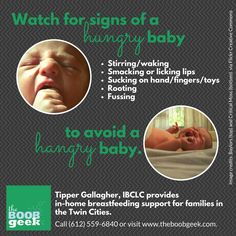 Watch for signs of a hungry baby to avoid a hangry one!