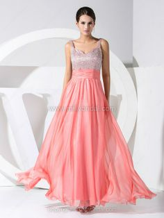 A-line Straps Chiffon Ankle-length Beading Prom Dresses