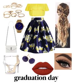 """Ready to face the world"" by maria-plx on Polyvore featuring Chicwish, New Look, Giuseppe Zanotti, Yves Saint Laurent, MVMT, Ippolita, Lime Crime and graduationdaydress"