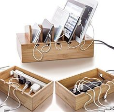 Prosumer's Choice Natural Bamboo Charging Station Rack for Smartphones and Tablets Computers & Accessorie Mobile Charging Station, Electronic Charging Station, Charging Station Organizer, Charging Stations, Wood Projects, Woodworking Projects, Woodworking Box, Cable Storage, Cable Organizer