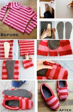 Who knows, this might com in handy some day???  DIY Upcycled Sweater Slippers