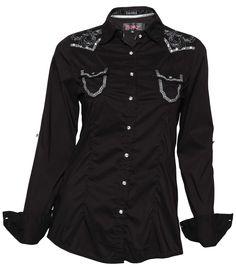 5d77df0e87 Women s ROAR Button-Up Shirt POLISHED II in Black  WW50497 . Camisa Vaquera CamisasFemeninaMujerTrajes De RodeoRopa ...