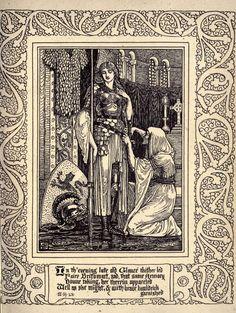 Walter Crane 'The Faerie Queene, Book V' by Edmund Spenser Ink Illustrations, Illustration Art, History Of Literature, Walter Crane, Knight Art, Fairytale Art, Historical Art, Black And White Illustration, Eye Art