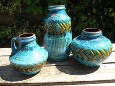 Carstens Aufrechnung 3 Türkis mit goldenen gelbe und gravierten Zahlen retro Vintage 70er Jahre fat Lava Vasen