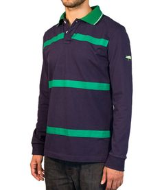 Custom Polo Shirts, Blue Polo Shirts, Differentiation, Green Stripes, Tape, Cuffs, Collections, Touch, Button