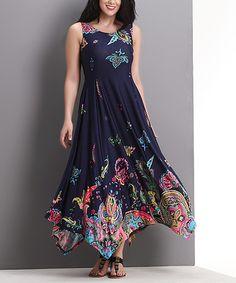 Look what I found on #zulily! Navy Floral Paisley Sleeveless Handkerchief Dress - Plus #zulilyfinds