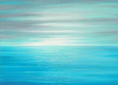 Square canvas print of original seascape painting designed to enhance your home or office decor. Colors include teal blue, light turquoise blue,