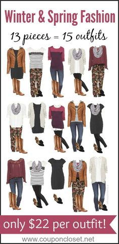 See how we show you how to take 13 pieces of clothing to make 15 outfits. These are perfect for Winter and Spring frugal Fashion - the best part is it only costs about $22 per outfit - Coupon Closet