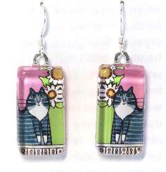 Tabby Cat Earrings/ Gray Tuxedo Kitty/ by SusanFayePetProjects, $18.00 #cat #jewelry