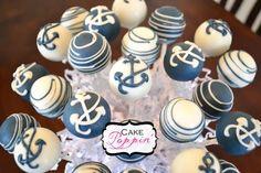 nautical cake pops | Nautical cake pops www.facebook.com/cakepoppin | Party Girl Nautical Cake Pops, Nautical Party, Anchor Party, Baby Shower Treats, Baby Shower Cakes, Party Desserts, Wedding Desserts, Mini Cupcakes, Cupcake Cakes