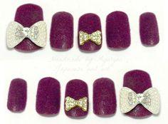 Big bows texture nail polish velvet nails velours by Aya1gou, $22.00