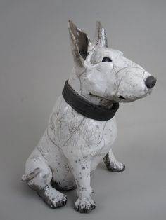 Ceramic Bull terrier by Ronnie Gould Dog Sculpture, Pottery Sculpture, Animal Sculptures, Pottery Animals, Ceramic Animals, Raku Pottery, Pottery Art, Ceramic Figures, Ceramic Art