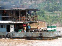 Tramp steamer on the yangtze river, China.
