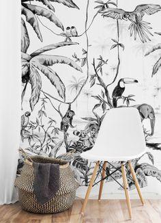 Behang - Wandgrote Afbeelding - JUNGLE zwart/wit Kids Wall Decor, Nursery Room Decor, Art Wall Kids, Nursery Wall Art, Bedroom Decor, Painting Wallpaper, Animal Wallpaper, Boys Room Wallpaper, Woodland Animal Nursery
