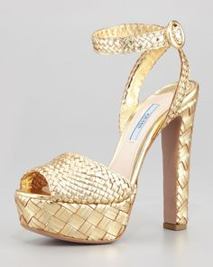 Woven Metallic Leather Platform Sandal by Prada at Neiman Marcus.