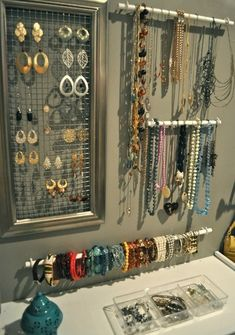 How To: Jewelry Wall, Part inexpensive DIY jewelry organization Diy Jewelry Wall, Diy Jewelry Holder, Bracelet Holders, Jewelry Hanger, Necklace Holder, Jewelry Box, Earring Holders, Jewlery, Jewelry Ideas