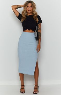 Laurena Knit Midi Skirt Pale Blue – Beginning Boutique Classy Outfits, Fall Outfits, Summer Outfits, Cute Outfits, Fashion Outfits, Stylish Outfits, Girly Outfits, Short Outfits, Womens Fashion