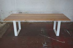 Recycled Messmate Hardwood AND White Steel Dining Table in Prahran, VIC | eBay