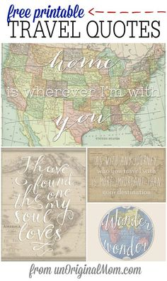 Vintage Travel Four different free printable travel quotes - perfect for a travel themed shower, or a gift for a travel lover! - Four different free printable travel quotes - perfect for a travel themed shower or as a gift for a travel lover! Map Crafts, Travel Crafts, Party Vintage, Vintage Bridal, Travel Bridal Showers, Wedding Showers, Baby Showers, Posters Vintage, Vintage Maps