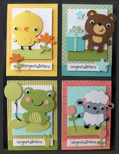 27 Trendy baby cards ideas create a critter Boy Cards, Kids Cards, Cute Cards, Arte Punch, Envelopes Decorados, Punch Art Cards, Create A Critter, Kids Birthday Cards, Birthday Bash