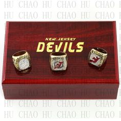 Team Logo wooden Case 3PCS Sets 1995 2000 2003 New Jersey Devils NHL Hockey Stanely Cup Championship Ring 10-13 Size solid back #Affiliate