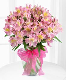 Lily Vase of Alstroemeria by Beneva Flowers in Sarasota #srq #pinkflowers