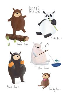 Bears... Cute!  illustration by Becky Down (for kids, children) www.beckydownillu...