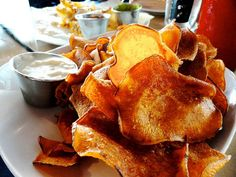 Sweet potato chips with smoked tomato ranch at Rivertown Bistro #MYRDreamVacation