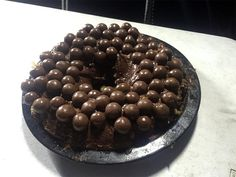 My son wanted a birthday cake on our recent camping trip and this is what we come up with, a sponge cake smothered in chocolate Icing and malteasers. Chocolate Icing, Oven Cooking, Sponge Cake, Doughnut, Easy Camp, Birthday Cake, Cast Iron, Desserts, Recipes