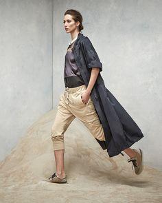Brunello Cucinelli Hooded Drop-Sleeve Taffeta Jacket, Sleeveless Button-Down Mixed Media Top & Drawstring Pull-On Pants