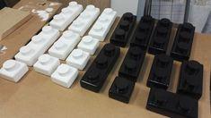 Bougeoirs Lego deco peinture noire et blanche