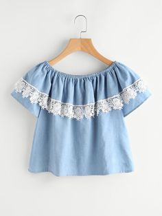 AdoreWe - ROMWE Boat Neckline Layered Lace Trim Blouse - AdoreWe.com Cute Blouses, Blouses For Women, Kids Outfits, Casual Outfits, Fashion Outfits, Little Girl Fashion, Kids Fashion, Really Cute Outfits, Frock Design