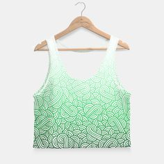 """""""White and ombre green swirls zentangle"""" Crop Top by @savousepate on Live Heroes #croptop #croptank #fashion #clothing #apparel #pattern #drawing #zentangle #doodles #abstract #vibrant #ombre #gradient #white #green #emerald #forestgreen #irish #stpatricksday #saintpatricksday"""