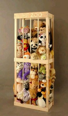The zoo animal crate stuffed animal display....very cute, maybe for inside my little girl's closet