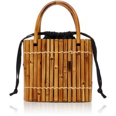 Glorinha Paranagua Positano Basket (2,435 SAR) ❤ liked on Polyvore featuring home, home decor, small item storage, black, black home decor, black tote, bamboo basket, bamboo home decor and modern basket