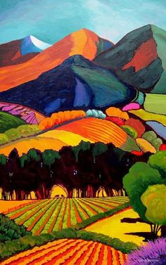 Southwest Gallery: Not Just Southwest Art. > couldn't find name of artist after searching. The name of the artist is Gene Brown Landscape Quilts, Landscape Paintings, Landscapes, Watercolor Landscape, Southwest Art, Naive Art, Painting Inspiration, Folk Art, Art Drawings