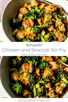 This healthy and easy chicken and broccoli stir fry is a quick weeknight dinner that will not disappoint. Tender chicken, crisp broccoli, and flavorful sauce that comes together in under 15 minutes. This healthier version of a takeout favorite is sugar-free, gluten-free, and completely Whole30 compliant. #whole30recipes #januarywhole30recipes #healthytakeout #takeoutrecipes #stirfryrecipes #dairyfreerecipes #glutenfreerecipes #sugarfreerecipes #chickenandbroccolistiryfry…