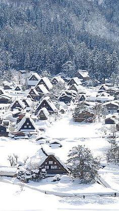 village background, Village, Snow, Tree, Background image