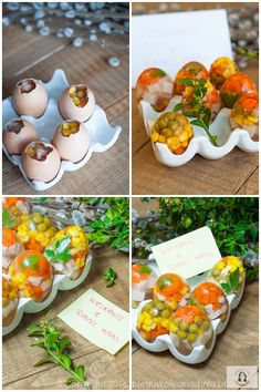Jajka z galarety Food Design, Cute Food, Good Food, Cold Appetizers, Food Carving, Best Cookbooks, Food Garnishes, Veggie Tray, Cooking Recipes