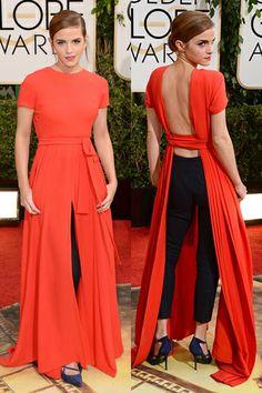 Emma Watson wearing Christian Dior #BestDressed #GoldenGlobes