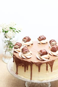 Cooking Recipes: Kinder Bueno cake no-bake Chocolate Dreams, Chocolate Cake, Drip Cakes, Yummy Cakes, Baking Recipes, Panna Cotta, Birthday Cake, Cooking, Ethnic Recipes