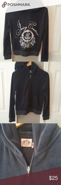 #4 Juicy Terry cloth hoodie Black juicy Terry cloth hoodie. Matching pants in my closet, discount if sold together.  Excellent condition. Bundle and save!! Juicy Couture Tops Sweatshirts & Hoodies