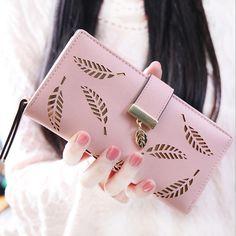 GZL Women wallet PU leather hollow out leaf short long wallets hasp zipper coin purse female clutch women card holders fashion