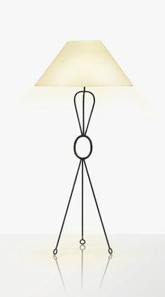 Jean Royère 1902 - 1981 LAMPADAIRE POIGNÉE DIT AUSSI YO-YO, 1954 'POIGNÉE' OR 'YO-YO', A BLACK PATINATED IRON STANDING LAMP WITH ORIGINAL SHADE BY JEAN ROYÈRE, 1954 THIS LOT WILL BE SOLD WITH A COPY OF THE ORIGINAL INVOICE. fer patiné noir ; abat-jour d'origine Hauteur : 139 cm (54 3/4 in.)