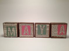 Personalized Name Art Blocks with Vintage Children's Book Pages, Mixed Media Home Décor, set of 4 blocks