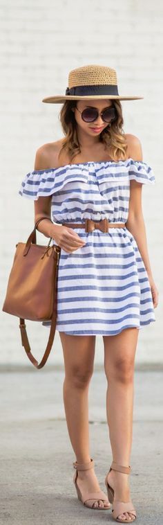 STRIPE OFF THE SHOULDER DRESS // Fashion Look by Lace And Locks